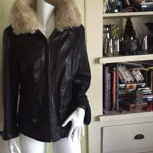 Banana Republic leather and shearling